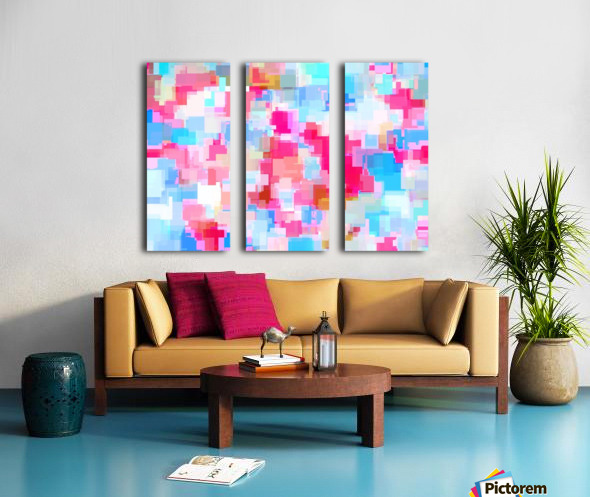 geometric square pattern abstract background in pink and blue Split Canvas print