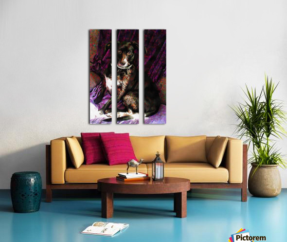 Purple Posing Puppy Split Canvas print