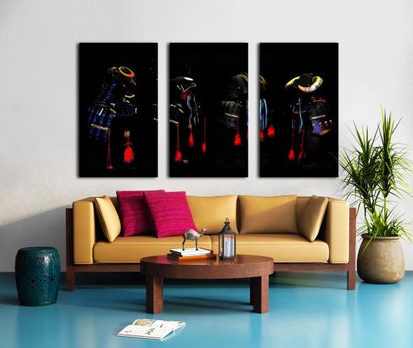 Memories of Samurai Black Armour Collage Split Canvas print