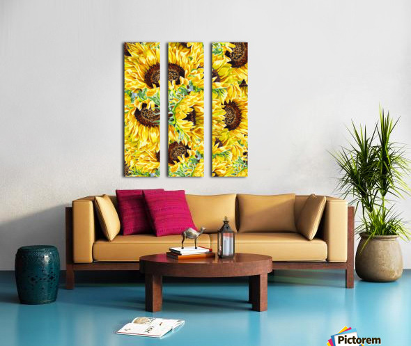 The Filed Of Watercolor Sunflowers Pattern Split Canvas print