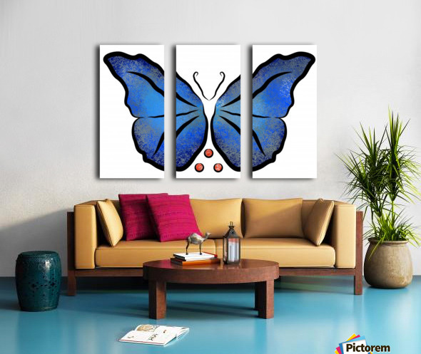 Deonioro - deep blue night butterfly with pearls Split Canvas print