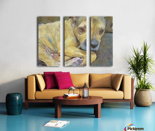 Watercolor dog painting Split Canvas print