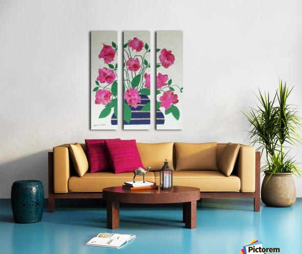 Flowers in navy blue vase  Split Canvas print