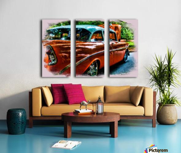 Classic Orange Car in Park Painting Split Canvas print