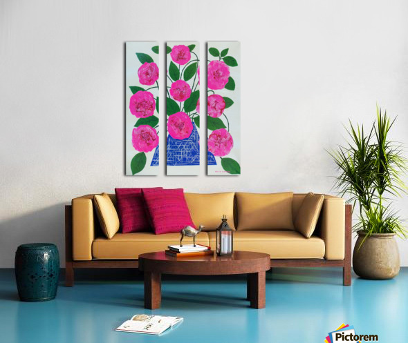 Pink flowers  Split Canvas print
