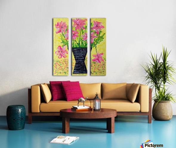 Pink Flowers in vase  Split Canvas print