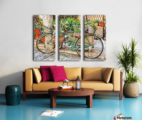 Decorative Bicycle In Cortona Split Canvas print