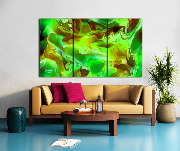 Emerald Field - green brown gold abstract swirls Split Canvas print