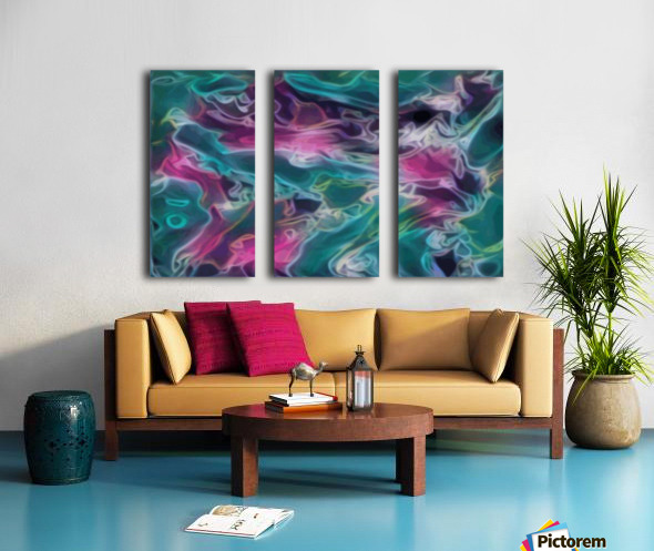 Feminine Waters - turquoise pink purple swirls Split Canvas print