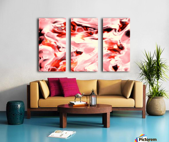 Super Charged - red orange pink abstract swirls wall art Split Canvas print