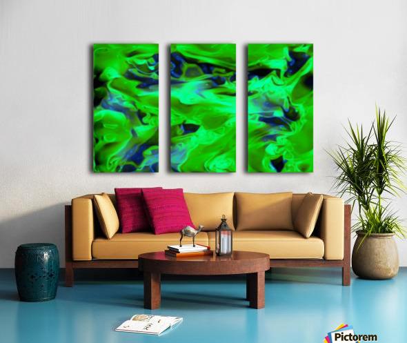 Gemphire - emerald green dark blue abstract swirls wall art Split Canvas print