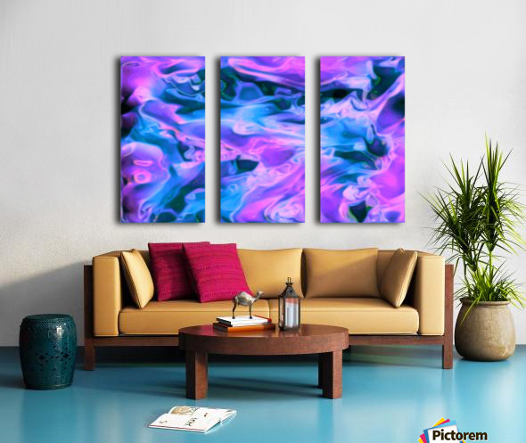 Purple Ice - purple blue abstract swirl wall art Split Canvas print