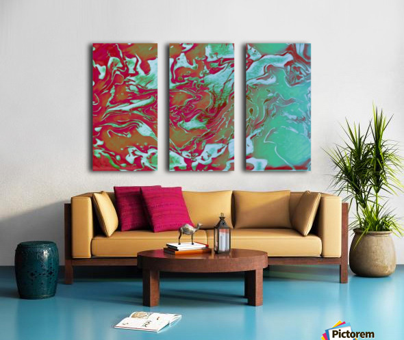 Fire and Ice - turquoise red gradient abstract swirl wall art Split Canvas print