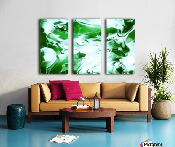 Clover - green white abstract swirl wall art Split Canvas print