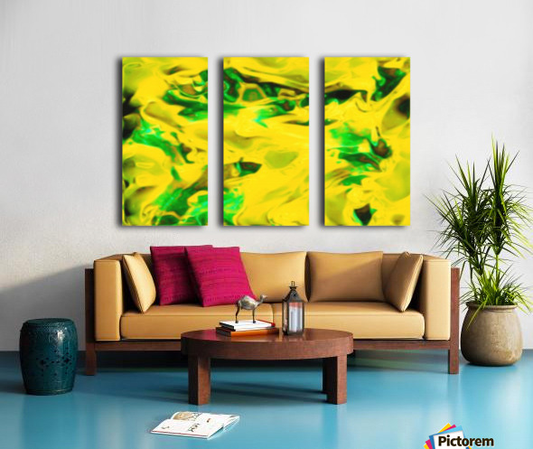 Golden Synchronicities - gold green abstract swirl wall art Split Canvas print