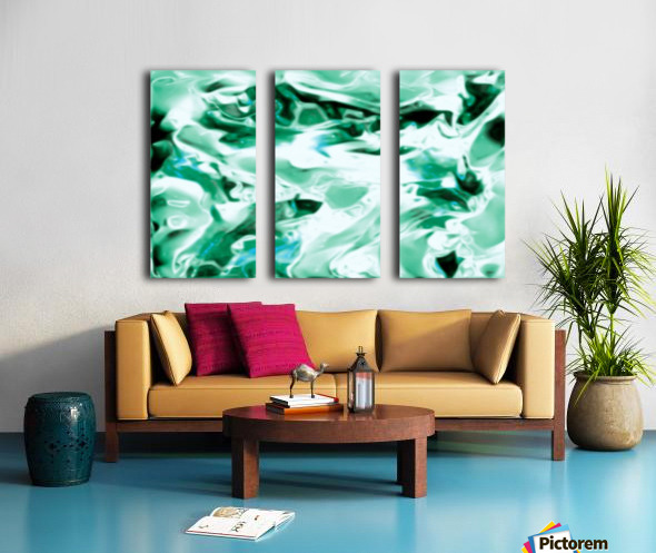 Icicles - turquoise white abstract swirls wall art Split Canvas print