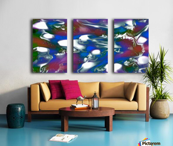 Morphing Dreams - blue green purple swirls and spots large abstract wall art Split Canvas print