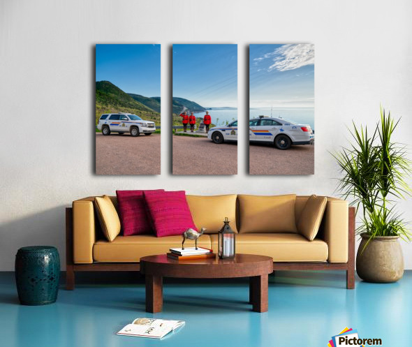 RCMP with cruisers at French Mountain Monument Split Canvas print