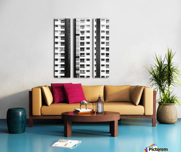 white and black city buildings Split Canvas print