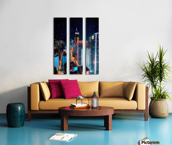 high rise buildings with lights Split Canvas print