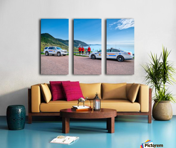 RCMP at ease with cruisers at French Mountain Monument Split Canvas print