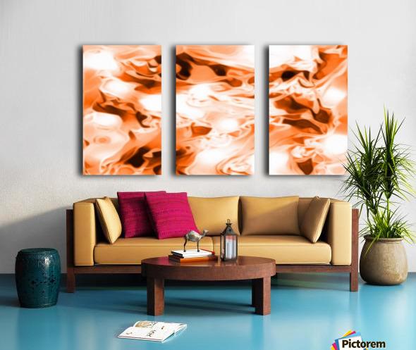 Orange Cream - orange black white swirls abstract wall art Split Canvas print