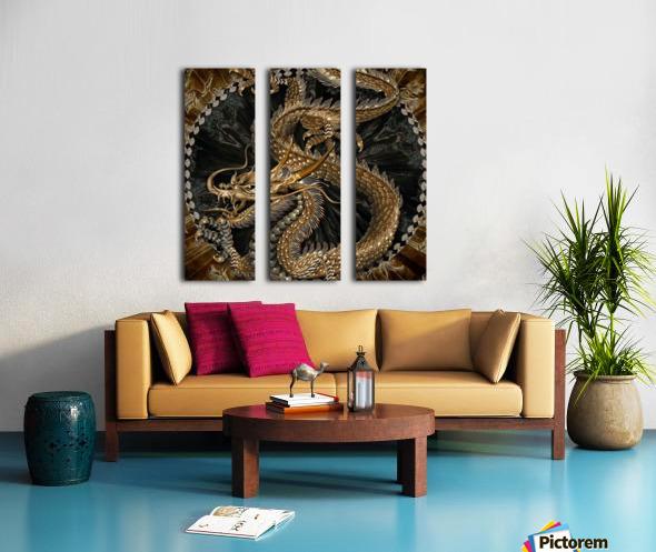 fantasy Dragon Pentagram Split Canvas print