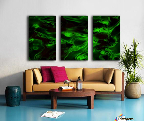 Green Plasma - green black swirls large abstract wall art Split Canvas print