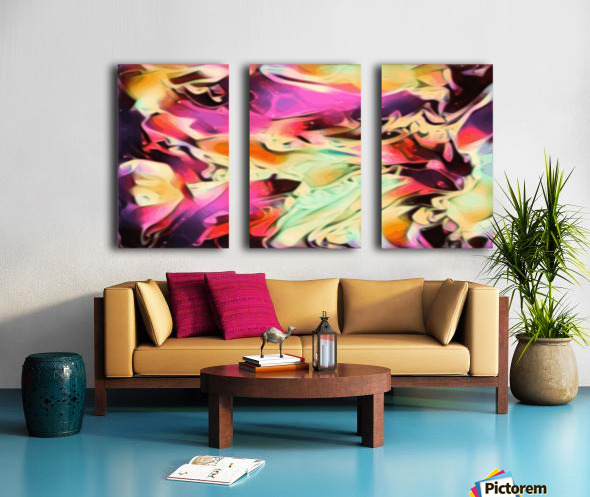Rising Glow - multicolor swirls abstract wall art Split Canvas print