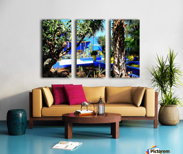 Yellow and Blue Contrasts Jardin Majorelle Split Canvas print