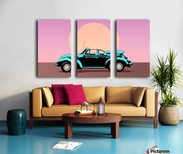 car poster retro vintage landscape Split Canvas print
