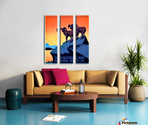 vintage poster retro advertisement Split Canvas print