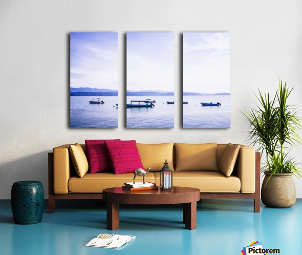 Sunrise in the Osa peninsula with boats in harbour Split Canvas print