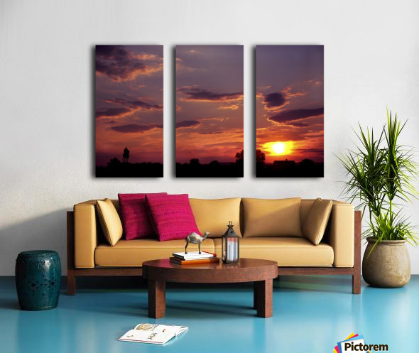 Manasas Battlefields Sunset With Statue Silhouette in left Corner Split Canvas print