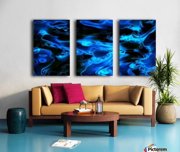 True Lightning - blue white black swirls abstract wall art Split Canvas print