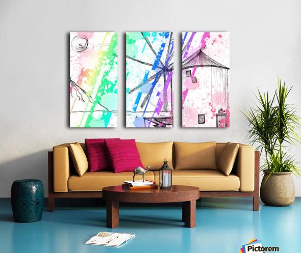 windmill art print multicolor 02 Split Canvas print