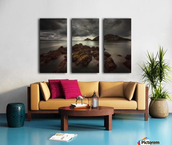 Storm clouds over Mumbles lighthouse Split Canvas print
