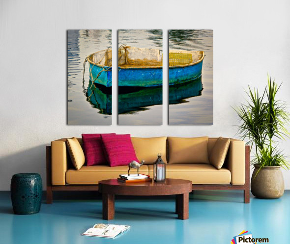 Anchored Boat at Dawn Split Canvas print