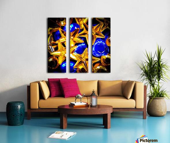 Blue and Gold Plastic Jewels Split Canvas print