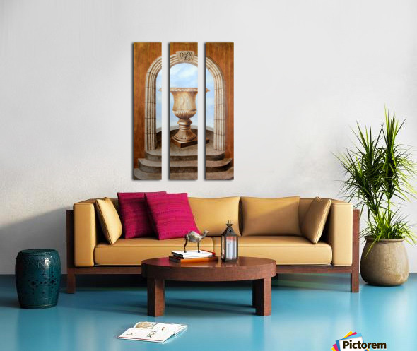 Marbled Urn Alcove - Trompe Loeil Split Canvas print