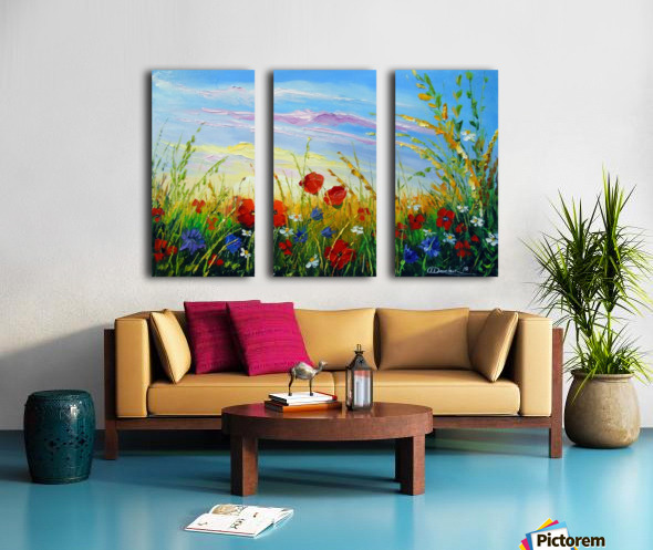 Summer flowers in the oil painting field Split Canvas print