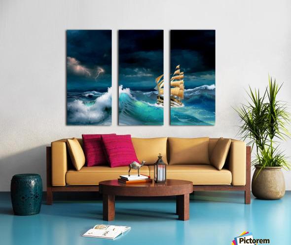 Hard way sailboat. sailing ship Split Canvas print