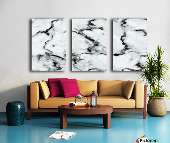 True White Marble - panoramic abstract wall art Split Canvas print