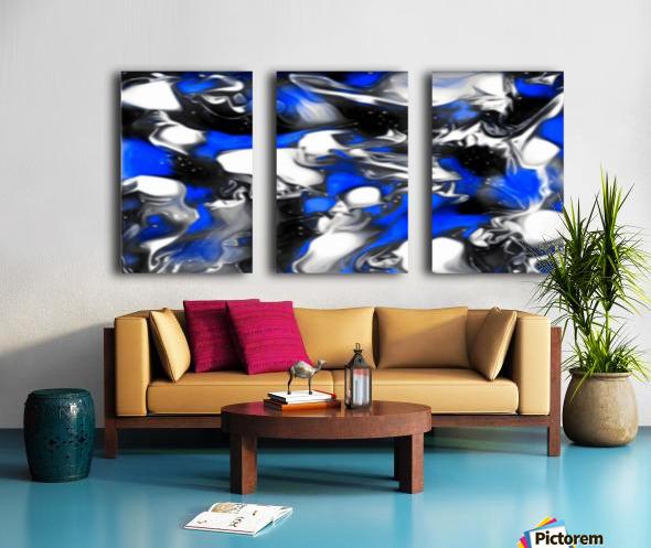 Booster - blue white black silver spots swirls abstract wall art Split Canvas print