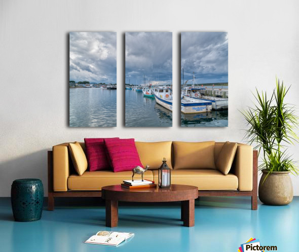 Approaching Storm Clouds - Cheticamp Harbour Split Canvas print
