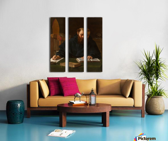 Saint Augustine in his study Split Canvas print