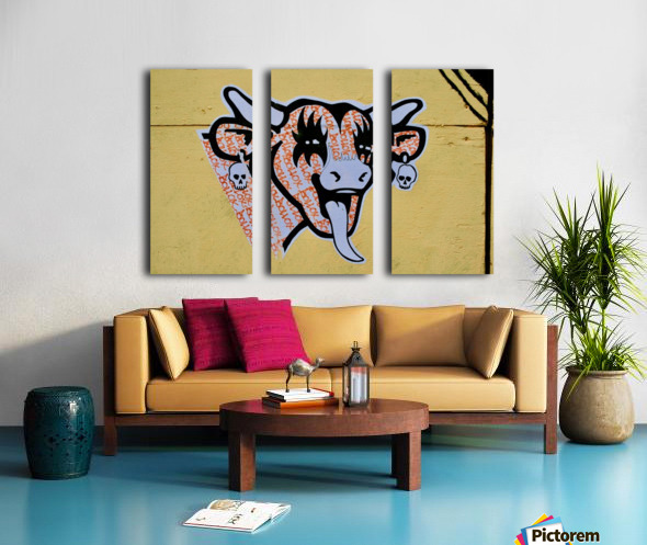 Demon Laughing Cow Split Canvas print