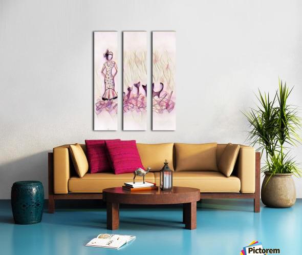Dame et chats Split Canvas print