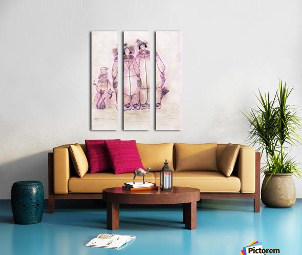 Les raquetteuses et les chats Split Canvas print