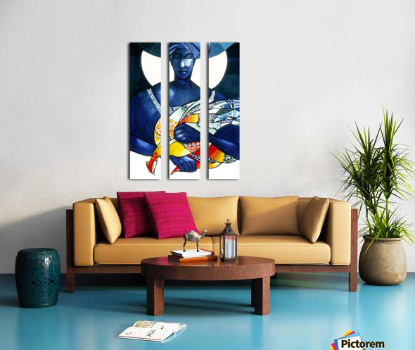 Blue Woman with a bird Split Canvas print